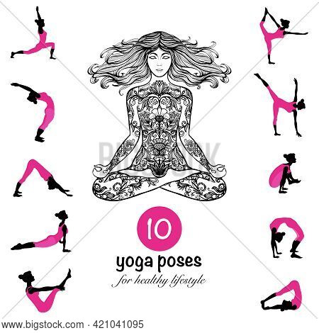Ten Essential Yoga Poses And Techniques For Healthy Lifestyle Pictograms Composition Banner Black Pi