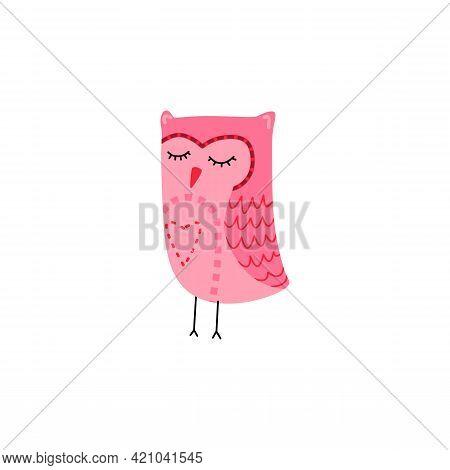 Vector Illustration Of Cute Owl. Bird Mascot, Wisdom Symbol. Simple Owlet Icon. Design For T-shirts,