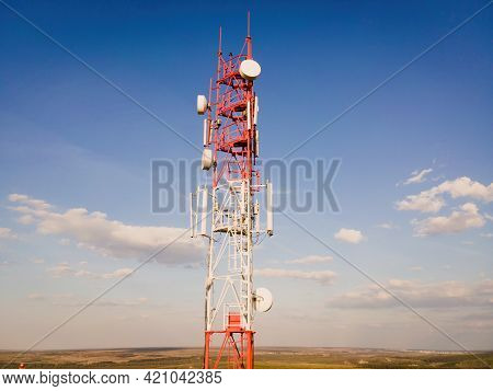 Telecom Tower Witn 5g And 4g Network, Telecomunication Base Station