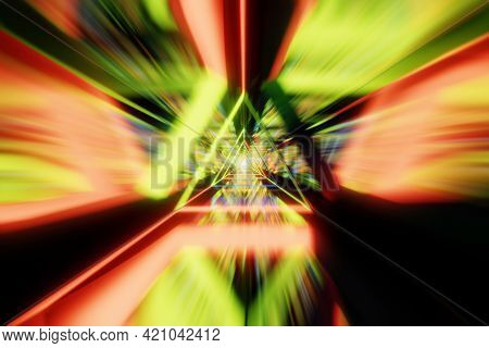 Abstract Acceleration Speed Motion Through Light Tunnel. Technology Background, 3d Render.