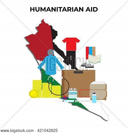 A Vector Of Humanitarian Aid From To Palestine. Aid Consist Of Food, Medical Supply, Clothes, Money,