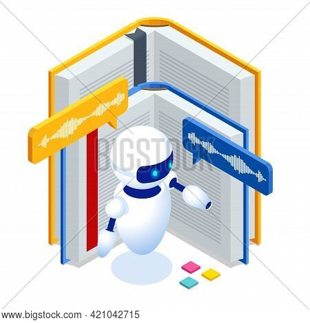 Isometric Audiobook And Science Teacher Bot Concept. Artificial Intelligence, Knowledge Expertise In