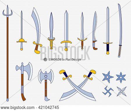 Set Of Realistic Warrior Sword Or Cross Swords Shield Or Axe Sword Cartoon Shield Concept. Eps Vecto
