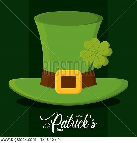 Saint Patricks Day Poster Elf Hat Vector Illustration