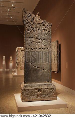New York, Usa, 1.09.2019 - Metropolitan Museum Of Art Exhibit Ancient Buddhist Stele. Asian Art Hall
