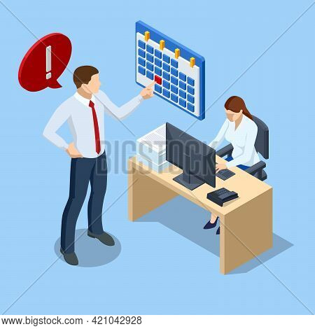 Isometric Office Workers And Business People Working Overtime At Deadline. Project Deadline. Deadlin
