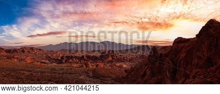 Valley Of Fire State Park, Nevada, United States. Scenic View Of American Nature Desert Landscape Du