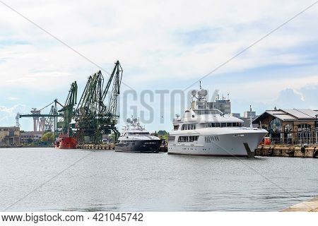 Varna, Bulgaria, May 15, 2021. The Charter Yacht Mustique In The Port Of Varna, Bulgaria. Two Luxury