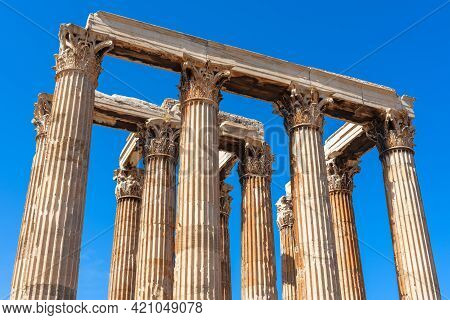 Ancient Temple Of Olympian Zeus, Athens, Greece. Corinthian Columns Are Remains Of Classical Greek B