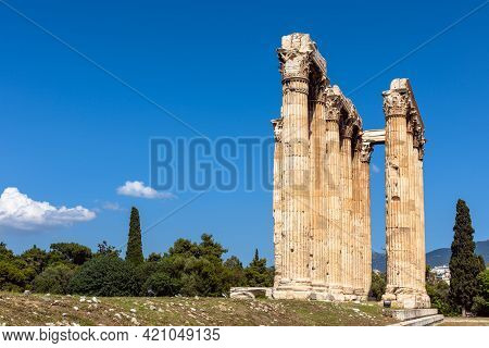Temple Of Olympian Zeus In Athens, Greece. Landscape With Ancient Greek Ruins In Summer. This Place