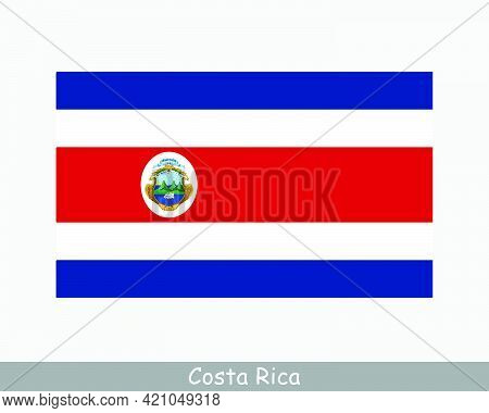 National Flag Of Costa Rica. Costa Rican Country Flag. Republic Of Costa Rica Detailed Banner. Eps V