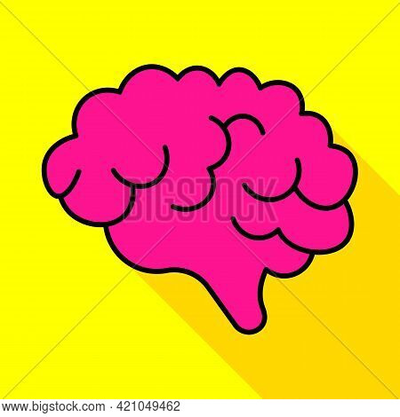 Human Brain Color Line Icon. Human Organs. Idea Intellect Concept. Trendy Flat Isolated Symbol, Sign
