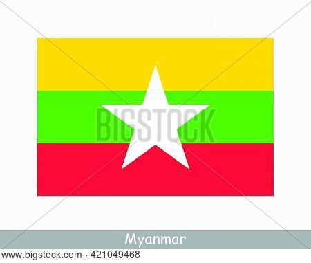 National Flag Of Myanmar. Burma Country Flag. Republic Of The Union Of Myanmar Detailed Banner. Eps