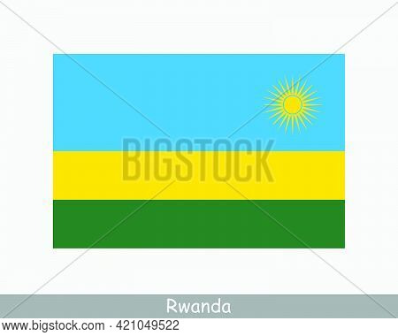 National Flag Of Rwanda. Rwandan Country Flag. Republic Of Rwanda Detailed Banner. Eps Vector Illust