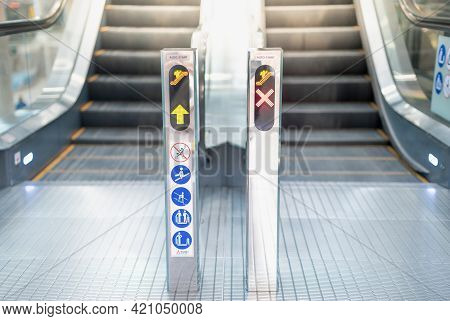 Escalator In Modern Building With The Do Not Sign While Use The Escalator  No Passngere That Conveni