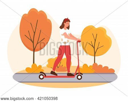 Female Character Is Riding Electric Scooter In A Park In Autumn. Concept Of Outdoor Activity In A Pa