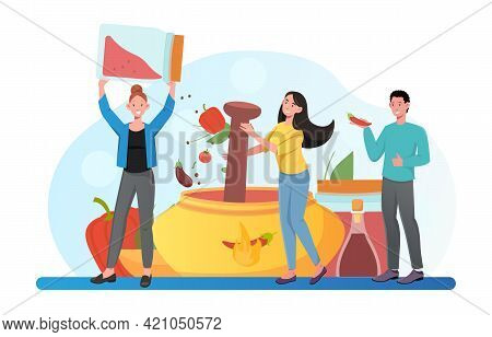 Happy Smiling Male And Female Characters Are Cooking Food Together. Group Of Cheerful People Putting