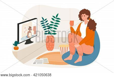 Cheerful Female Character Is Sitting With Cup And Watching Television At Home. Young Woman Is Enjoin