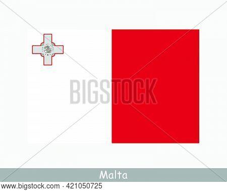 National Flag Of Malta. Maltese Country Flag. Republic Of Malta Detailed Banner. Eps Vector Illustra