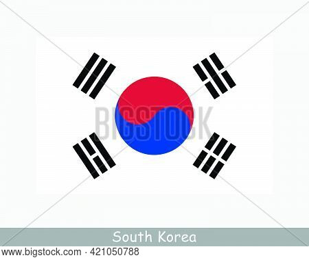 National Flag Of South Korea. South Korean Country Flag. Republic Of Korea Detailed Banner. Eps Vect