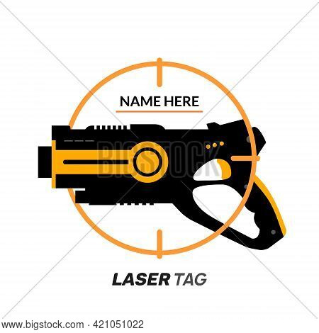 Laser Tag Gun Game Icon. Vector Laser Tag Futuristic Logo Weapon