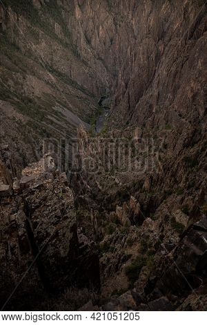 Erosion Fades Into The Black Canyon Of The Gunnison From Dizzying Overlook