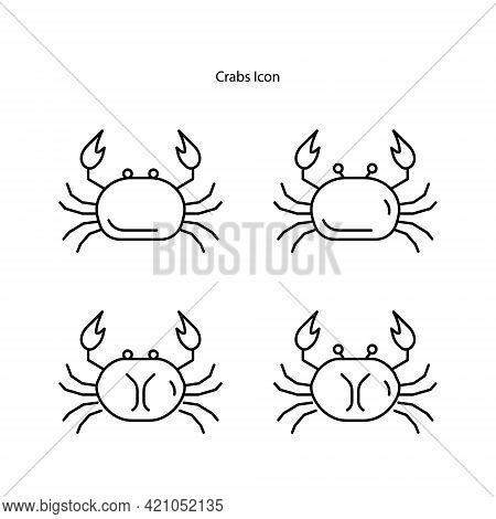 Crab Icon Isolated On White Background. Crab Icon Thin Line Outline Linear Crab Symbol For Logo, Web