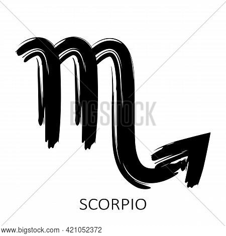 Zodiac Sign Scorpio Isolated On White Background. Zodiac Constellation. Design Element For Horoscope