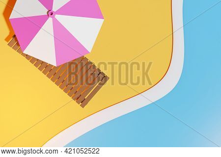 3d Illustration Of A Beach Chair  Under A Striped Parasol, On An Beach And Sea. Summer Vacation Conc