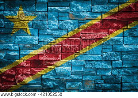 National Flag Of Democratic Republic Of The Congo On Stone  Wall Background.the Concept Of National