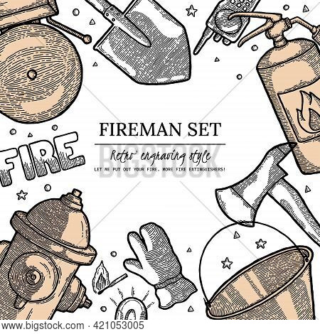 Firefighting Vintage Elements Poster In Vintage Monochrome Style. Finished Label With Design Templat