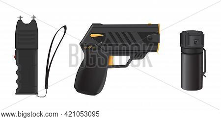 Collection Realistic Self Defense Equipment Vector Illustration. Portable Protective Tools