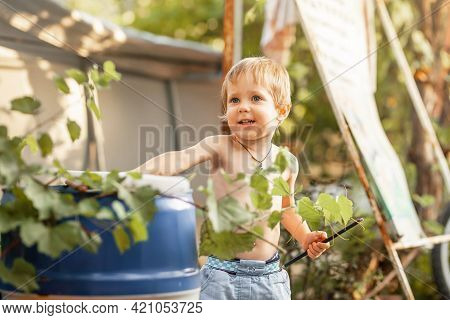 Summer Portrait Of Happy Kid On Vacation. Active Child. Funny Little Boy Playing In Sunny Backyard.
