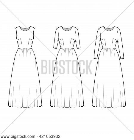 Set Of Dresses Long Technical Fashion Illustration With Long Medium Short Sleeve, Fitted Body, Midi