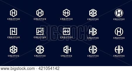 Set Of Initial Letter H,hb,bb And Bh Logo Design Concept