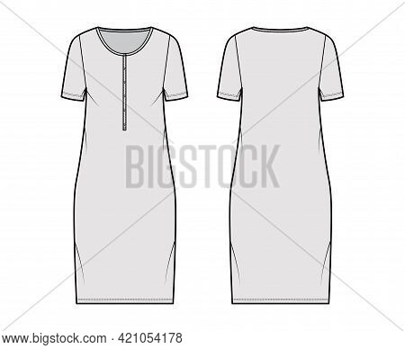 Dress Henley Collar Technical Fashion Illustration With Short Sleeves, Oversized Body, Knee Length P