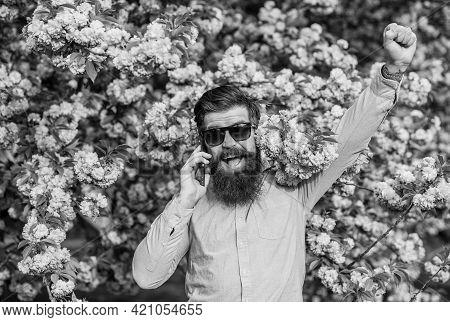 Hello World. Man Call Smartphone. Mobile Internet. Tourist Happy Mobile Conversation. Mobile Phone.