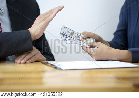The Officer Refused To Accept The Cash Money Bribe  From The Businessman The Concept Anti Bribe Or C