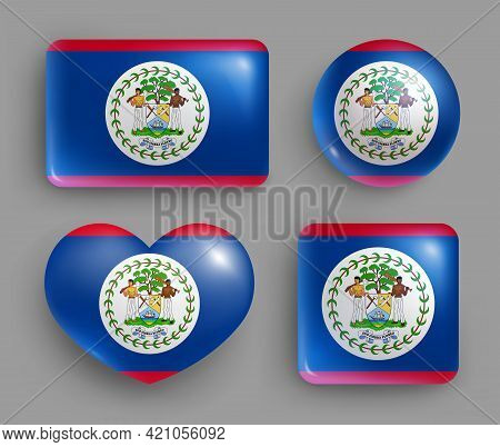 Set Of Glossy Buttons With Belize Country Flag. Central America Country National Flag, Shiny Geometr