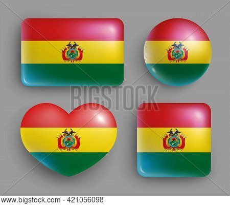 Set Of Glossy Buttons With Bolivia Country Flag. South America Country National Flag, Shiny Geometri