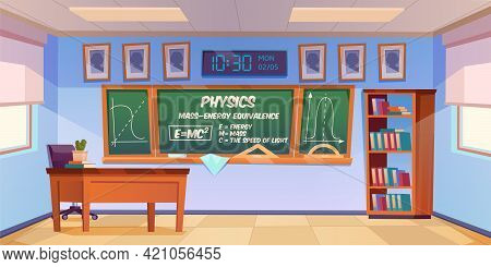 Classroom For Physics Learning With Formula And Graph On Chalkboard. Vector Cartoon Illustration Of