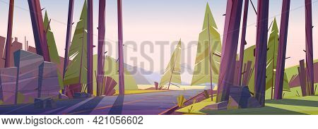 Forest Landscape With Road And Mountains On Horizon. Vector Cartoon Illustration Of Nature Scene Wit