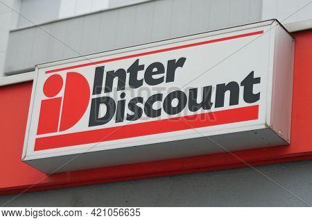 Wohlen, Aargau, Switzerland - 18th April 2021 : Sign Of Interdiscount Appliance Store In Wohlen. Ing