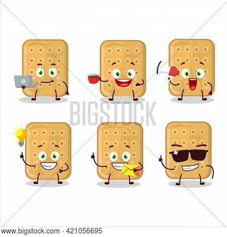 Biscuit Cartoon Character With Various Types Of Business Emoticons