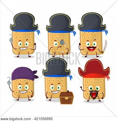 Cartoon Character Of Biscuit With Various Pirates Emoticons