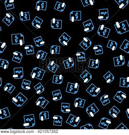 Line Html File Document. Download Html Button Icon Isolated Seamless Pattern On Black Background. Ht