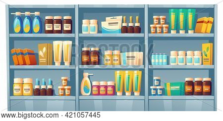 Pharmacy Shelves With Medicines, Drugstore Showcase With Pills, Vitamins, Bottles With Liquid Medica