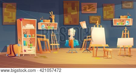Art Studio, Classroom With Easels, Paints And Brushes On Shelves, Bust And Paintings On Wall. Vector