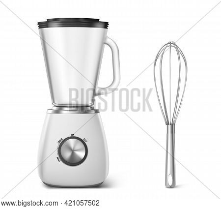 Kitchen Appliances Electric Blender And Whisk. Household Equipment For Cooking Food, Mixer With Cup