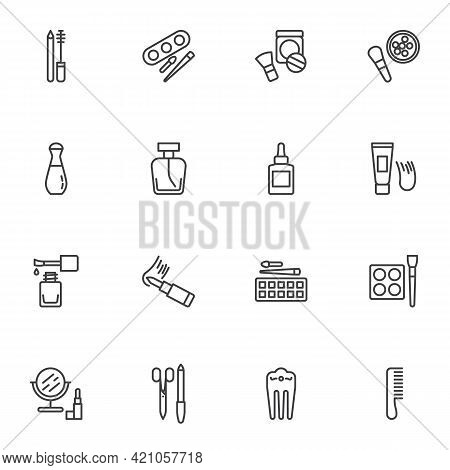 Makeup Cosmetics Line Icons Set, Beauty And Fashion Outline Vector Symbol Collection, Linear Style P